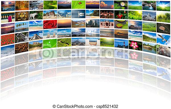 composé, beaucoup, résumé, multimédia, fond, images, copie - csp8521432