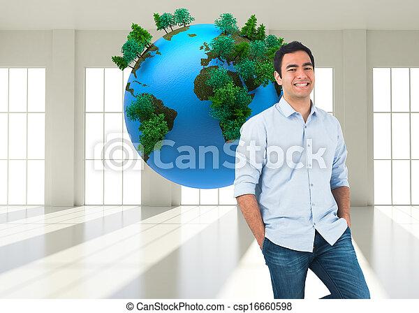 composiet, staand, ongedwongen, glimlachende mens, beeld - csp16660598