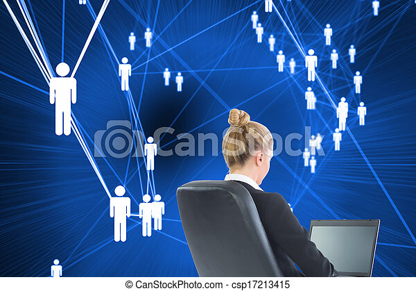 Composite image of blonde businesswoman sitting on swivel chair with laptop - csp17213415