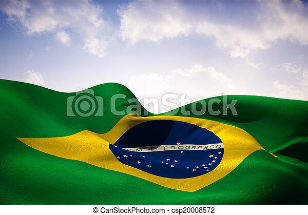 Composite image of brazil flag waving - csp20008572