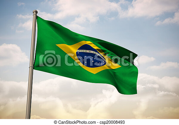 Composite image of brazil national flag - csp20008493