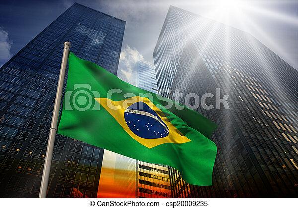 Composite image of brazil national flag - csp20009235