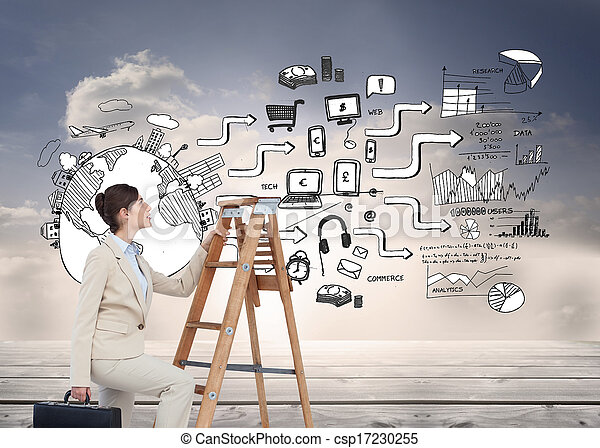 Composite image of businesswoman climbing career ladder with briefcase - csp17230255