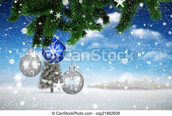 Composite image of christmas decorations - csp21862608