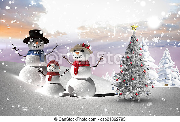Composite image of christmas tree and snowmen - csp21862795