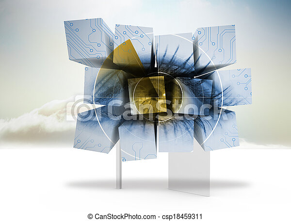 Composite image of eye on abstract screen - csp18459311