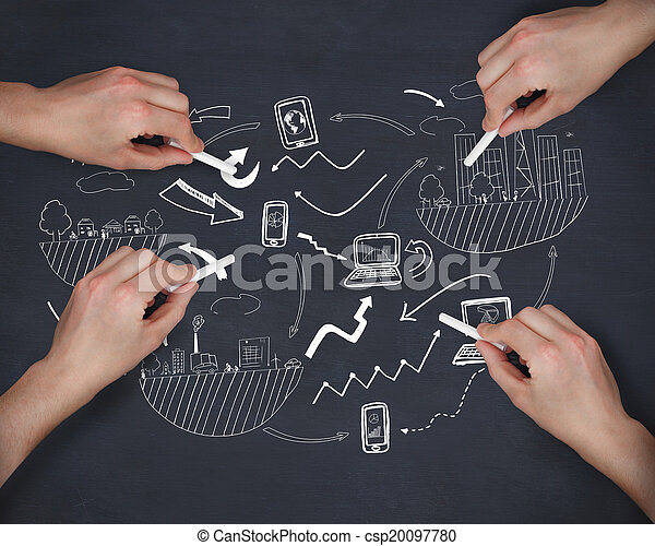 Composite image of multiple hands writing brainstorm with chalk - csp20097780