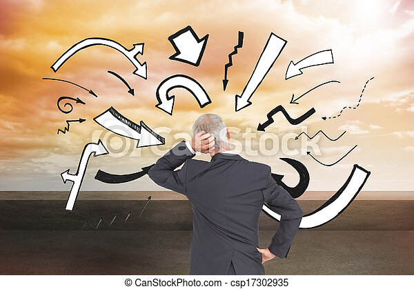 Composite image of rear view of doubtful mature businessman - csp17302935