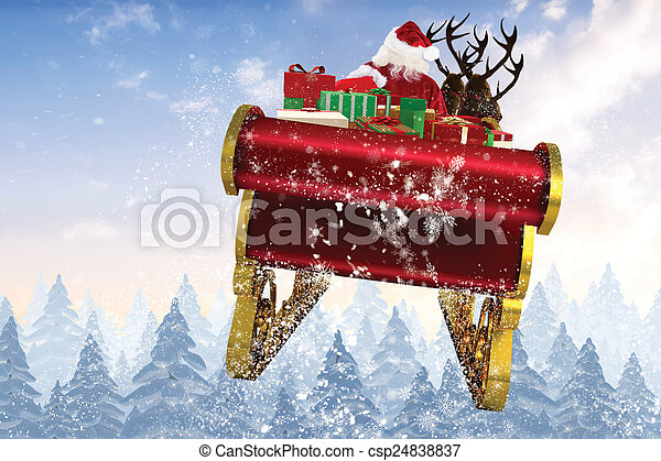 Composite image of santa flying his sleigh - csp24838837
