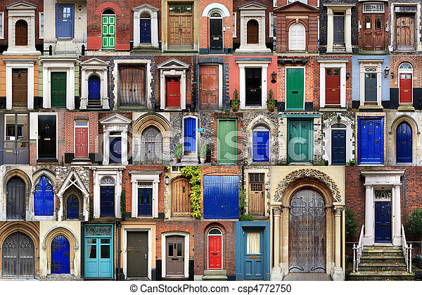 COMPOSITE OF FRONT DOORS - csp4772750 & Composite of front doors. Composite image of various doors around ...