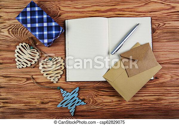 composition., brun, plat, sommet bois, noël, écrire, arrière-plan., cahier, buts, année, nouveau, vue., poser - csp62829075