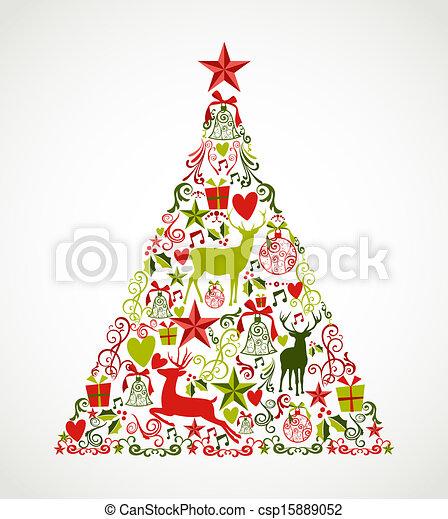 Colorida forma de árbol de Navidad con renos y composición de elementos festivos. Archivo vectorial EPS10 organizado en capas para edición fácil. - csp15889052