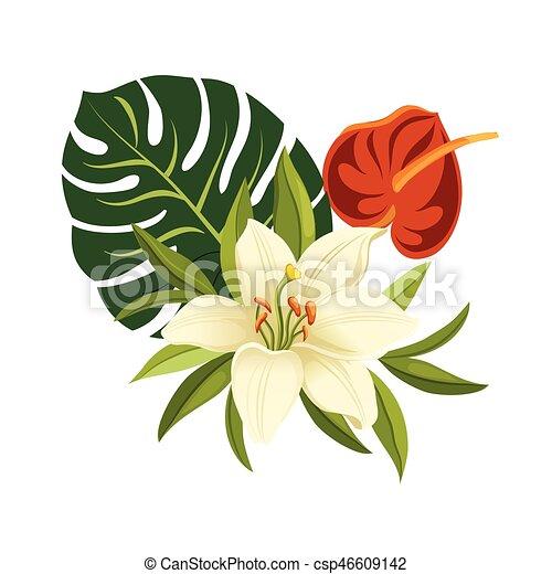 Vecteur eps de composition color leaves illustration - Fleur d hibiscus dessin ...