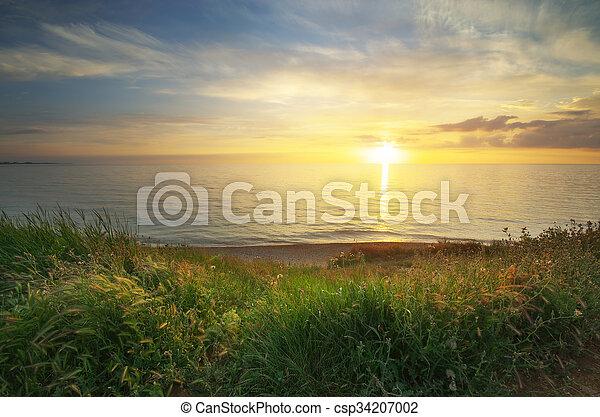 composition., coucher soleil - csp34207002