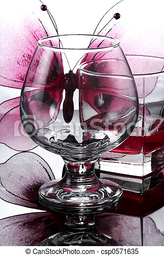 Composition from glasses and butterflies - csp0571635