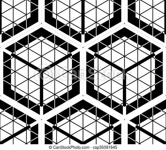 composition., grafisch, intertwine, model, symmetrisch, optisch, monochroom, geometrisch, design., eindeloos - csp35091645