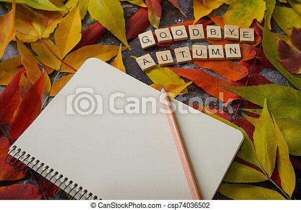 composition, notebook., feuille, automne - csp74036502