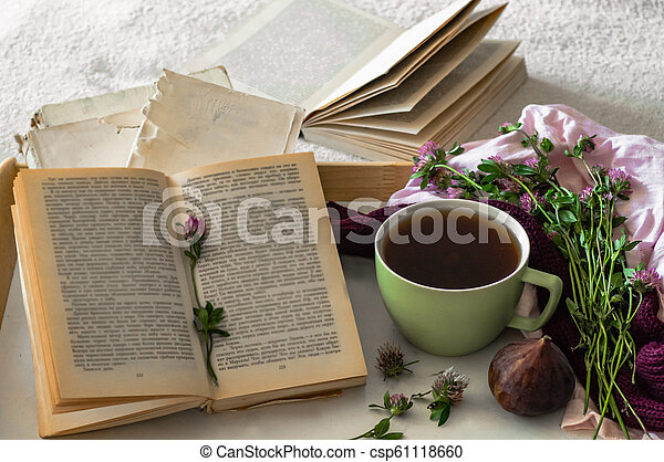 Composition of a cup of tea and opened book is not readable on a coffee table in the room, with figs and flowers. close up - csp61118660