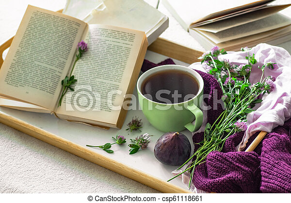 Composition of a cup of tea and opened book is not readable on a coffee table in the room, with figs and flowers. close up - csp61118661