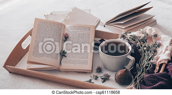 Composition of a cup of tea and opened book is not readable on a coffee table in the room, with figs and flowers. close up - csp61118658