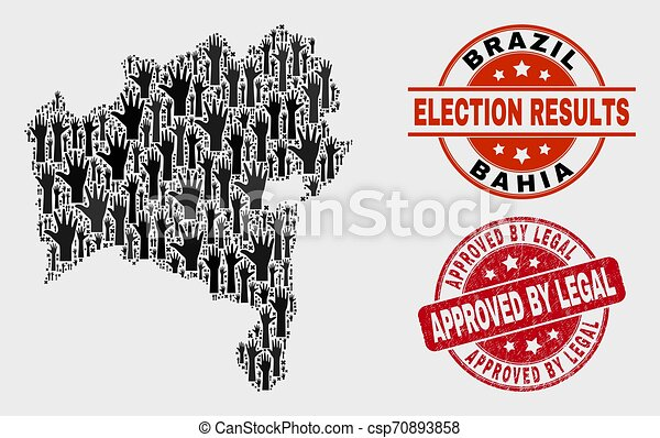 Composition of Ballot Bahia State Map and Scratched Approved by Legal Stamp - csp70893858