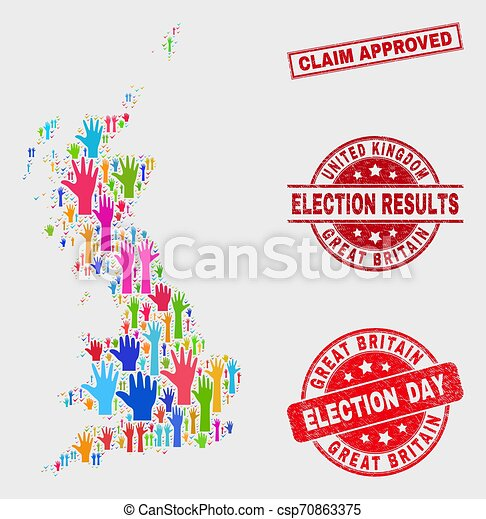 Composition of Ballot Great Britain Map and Grunge Claim Approved Seal - csp70863375