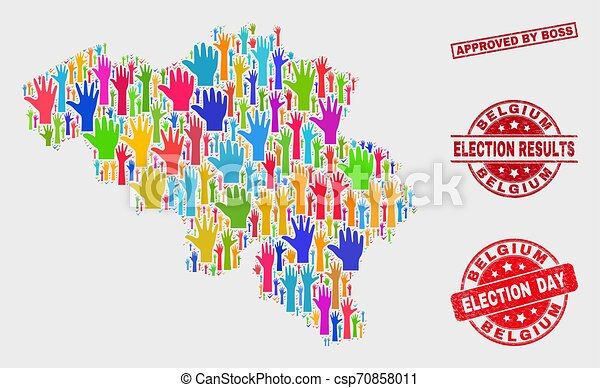 Composition of Election Belgium Map and Scratched Approved by Boss Stamp - csp70858011