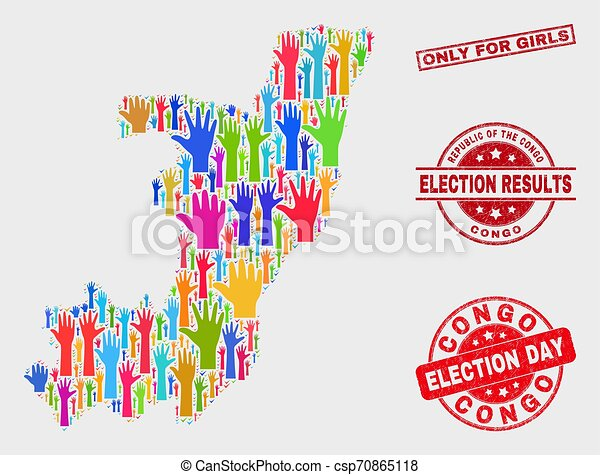 Composition of Election Republic of the Congo Map and Distress Only for Girls Stamp - csp70865118