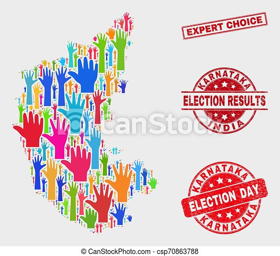 Composition of Electoral Karnataka State Map and Distress Expert Choice Stamp Seal - csp70863788