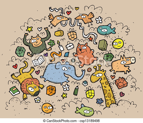 Composition of funny animals and objects: hand drawn vector illustration. Illustration is in eps10 vector mode! - csp13189498