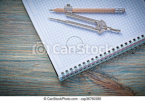 Composition of vintage divider pencil copybook on wooden board c - csp36760380