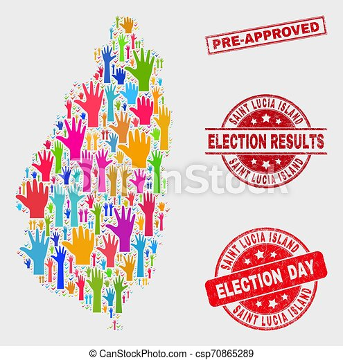 Composition of Vote Saint Lucia Island Map and Scratched Pre-Approved Watermark - csp70865289