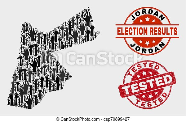 Composition of Voting Jordan Map and Distress Tested Stamp - csp70899427