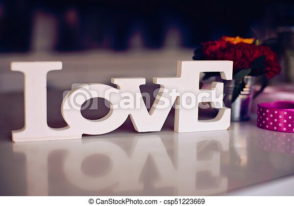 Composition of wooden Love word - csp51223669