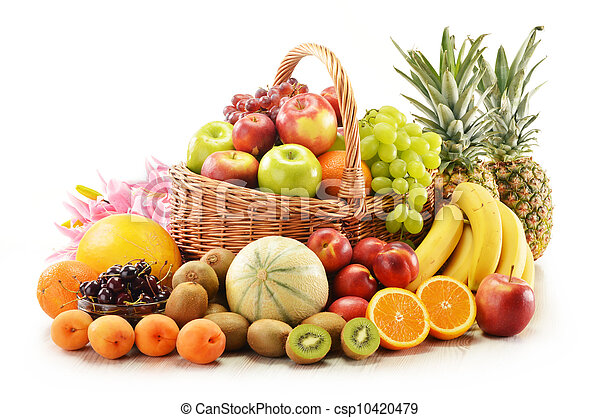 Composition with assorted fruits in wicker basket - csp10420479
