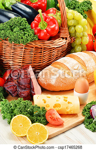 Composition with assorted organic grocery products - csp17465268