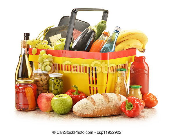 Composition with grocery products in shopping basket - csp11922922