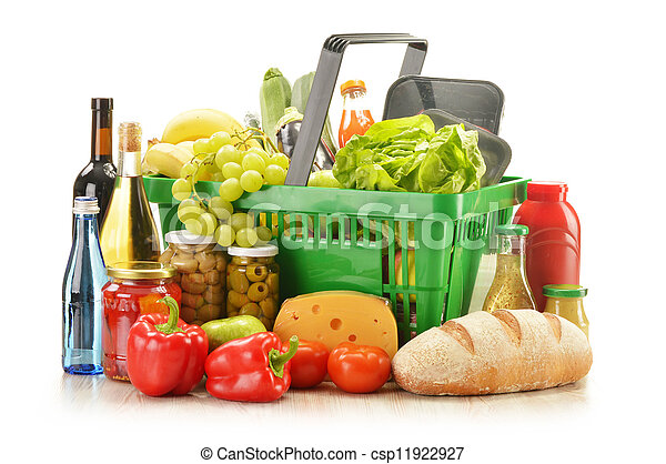 Composition with grocery products in shopping basket - csp11922927