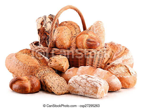 Composition with variety of baking products isolated on white - csp27295263