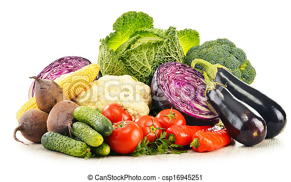 Composition with variety of fresh raw organic vegetables - csp16945251