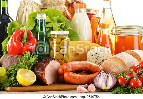 Composition with variety of grocery products - csp12849754