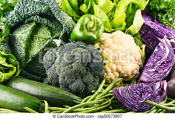 Composition with variety of raw organic vegetables. - csp50573807