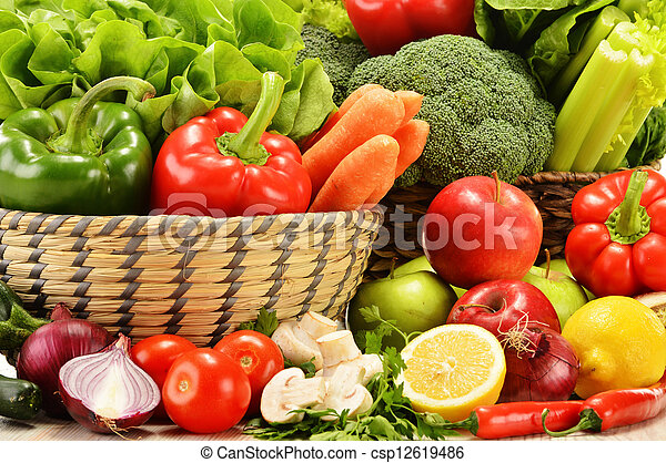 Composition with variety of raw vegetables - csp12619486