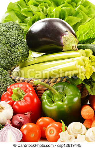 Composition with variety of raw vegetables - csp12619445