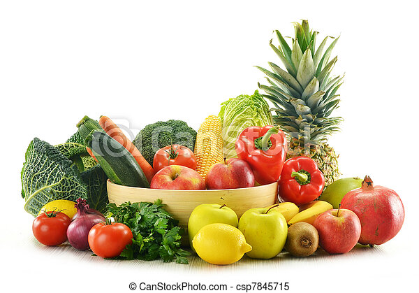 Composition with vegetables and fruits isolated on white - csp7845715