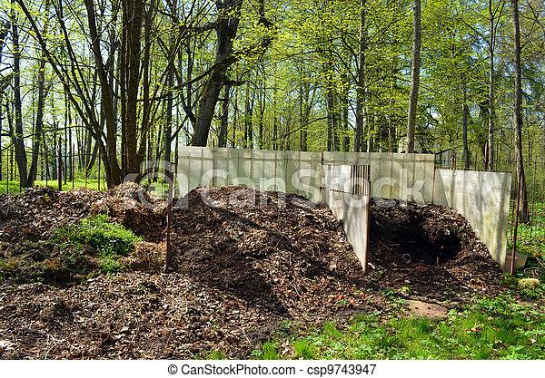 compost in garden. fertile organic waste leaves  - csp9743947