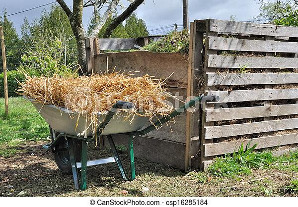 composter and wheelbarrow - csp16285184
