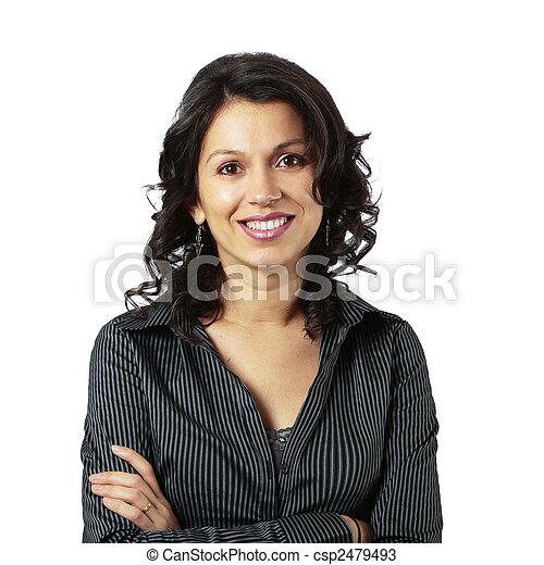 composto, mulher sorridente, negócio, latim - csp2479493