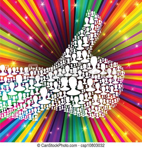 composto, raios, eps10, polegar, coloridos, pessoas, muitos, símbolo, ilustração, cima, experiência., vetorial, silhouettes. - csp10803032