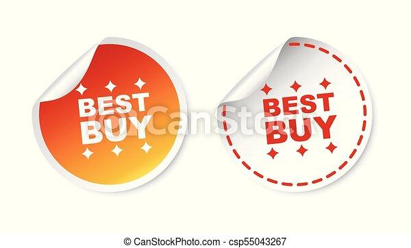 compra, ilustração, experiência., vetorial, branca, stickers., melhor - csp55043267